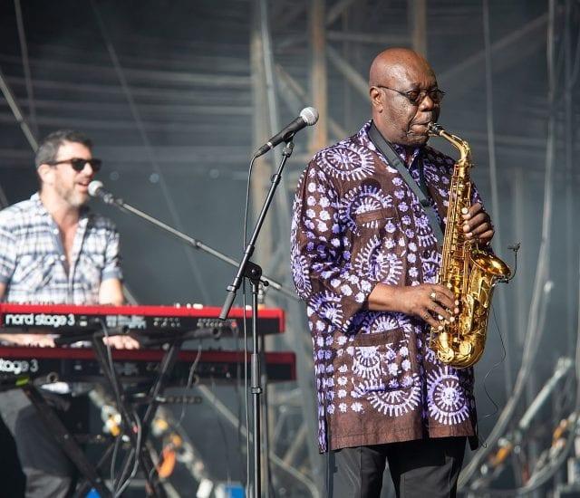 Concert de Manu Dibango au festival Les Escales, Saint-Nazaire, juillet 2019.