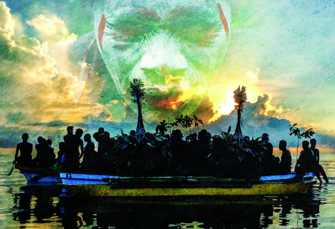 "Affiche présentant ""A Bit Na Ta"" de George Telek, David Bridie & les musiciens de Gunantuna"